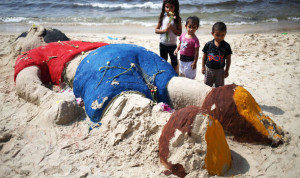 Beach tribute to Aylan Kurdi on the Gaza Strip.