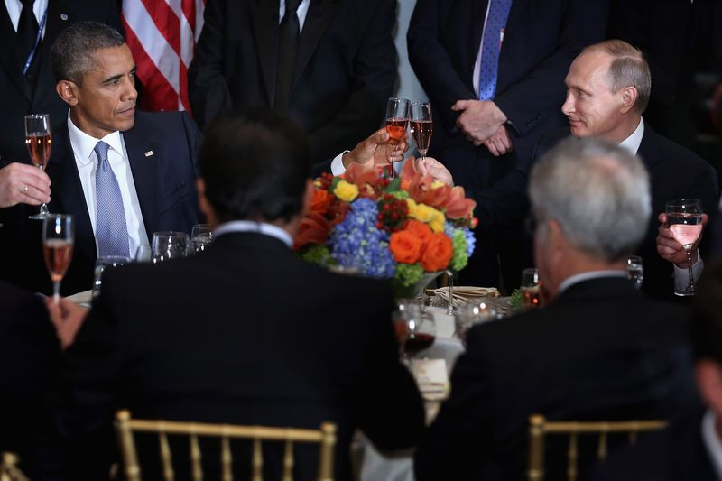 Obama and Putin's awkward toast on Monday at the UN.